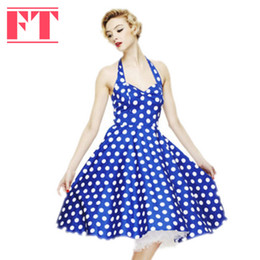 Wholesale-Summer Style Dresses Retro Audrey Hepburn Vestidos Women Vintage 50s 60s Dress Big Swing Polka Dot Backless Rockabilly Plus Size