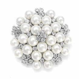 Faux Pearl Cluster and Rhinestone Crystal Large Bridal Corsage Bouquet Flower Pin Brooches for Bouquet Gift