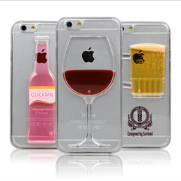 Phone Case for iPhone 5 6 6 Plus Liquid Quicksand Red Wine Cocktail Glass Beer Mug Bottle Transparent Back Cover DHL Free SCA054