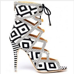 Fashionable Geometric Shaped Black White Print Featuring Caged Cut Out Design Lace up with Real Zipper Ankle Boots Gladiator
