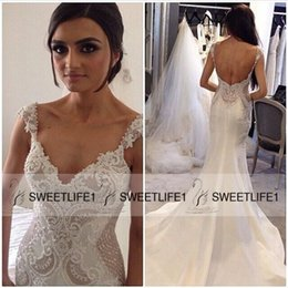2016 Mermaid Satin Wedding Dresses with V Neck Lace Beaded Straps Open Back White Ivory Court Train Pearls Bridal Gowns High Quality Popular