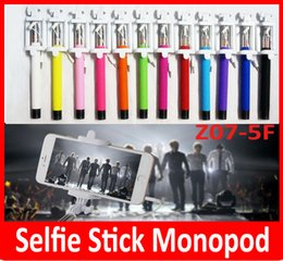 Wholesale Hot z07 F mini monopod Newest Folding Selfie Stick Monopod With Audio Cable Wired Well Fashion Equipment For Taking Photoes