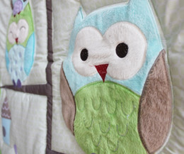 Sale!7Pcs Baby bedding set Embroidery cartoon owls bird hedgehog squirrel Crib bedding set 100% cotton including Baby Quilt etc Cot bedding