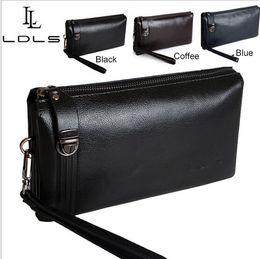 Sac d'affaires à vendre-Nouveaux hommes d'affaires 2014Luxury hommes Walllet sac d'embrayage en cuir véritable, sacs à main embrayages Livraison gratuite