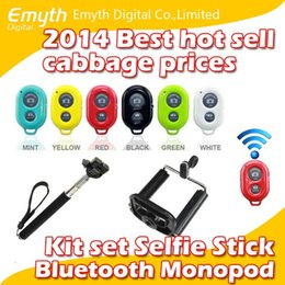 Wholesale Bluetooth Remote Shutter Phone Clip Camera mobil phone Monopod For iPhone Samsung Android and IOS phones in kit set with retail box