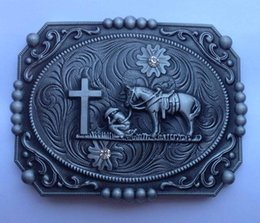 Horse with cross Buster Belt Buckle SW-Y10 suitable for 4cm wideth belt with continous stock free shipping