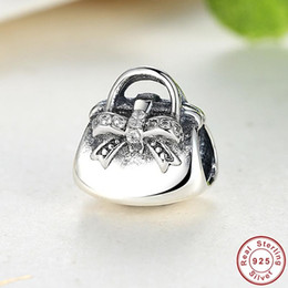 Handbag Silver Charm with Cubic Zirconia for Pandora Style Bracelets S259