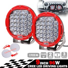 """EMS 2PCS 9"""" 96W CREE 32LED*3W Driving Work Light Offroad SUV ATV 4WD 4x4 Spot   Flood Beam 9-32V 7800lm JEEP Tractor Truck BUS Red Shell"""