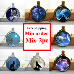 NS--00105 Wholesale Necklace Glass Dome Pendant Glass Wolf Necklace Wild Animal jewelry Pendant Glass Cabochon