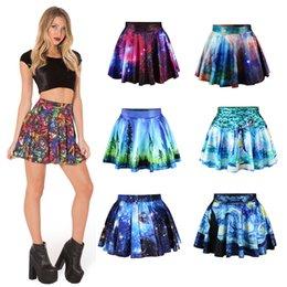 Wholesale Novo summer fashion ladies saias plissadas Galaxy Starry Night skirt impresso Skynight skirt leaf skirt