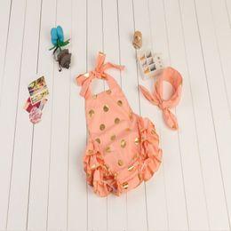 Orange Pink Gold Dots Bubble Romper,Girls Romper with turban headband ,vintage Baby Girls bubble romper