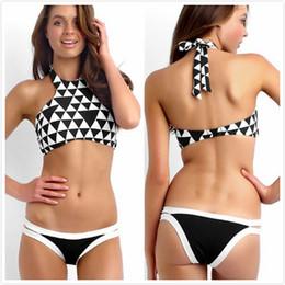 Tankini negro l en Línea-Seafolly Negro Blanco Bloque Halter Tankini Imprimir Bikini brasileño establece Triángulo Halter cuello traje de baño Traje de baño