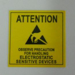 4.8 * 4.8cm ATTENTION autocollant étiquette adhésive pour l'EDD anti statique Sensitive Device électronique Package blindage anti-statique emballage à partir de etiquette électronique fabricateur