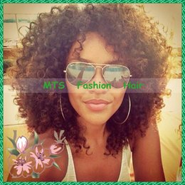 Stock Afro Kinky Curly Full Lace Wigs & Glueless Lace Front Wigs With Baby Hair Virgin Brazilian Short Human Hair Wigs