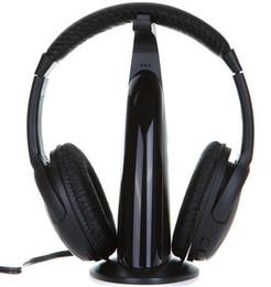 Wholesale Multifunction in HiFi Wireless Headphone Earphone Hi Fi Headset Wireless Monitor FM Radio MP3 PC TV Audio Phones DHL ZKT