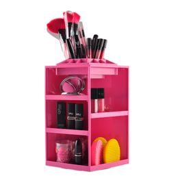 Plastic 360 Degree Rotation Cosmetic Storage Box Polygon Folding Desktop Storage Box Makeup Cosmetic Organizer 0605096