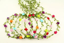 Wholesale 24pcs mixed colorBride Bohemian Flower Headband Festival Wedding Floral Garland Hair Band Headwear Hair Accessories for Women