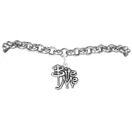 Custom Jewelry Bite Me Message Charm Rolo Chain Bracelets 100pcs A lot Link Chain Antique Silver Plated