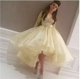 Pale Yellow Bateau Lace Bling Bling Long Sleeve Puffy Skirt High Low Prom Dresses Women Evening Sexy Dresses