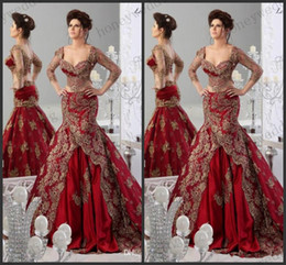 2019 Red Evening Dresses 3 4 Long Sleeves Arabic Jajja-Couture Embroidery V Neck Vestidos Prom Ball Gowns Celebrity Mermaid Dress
