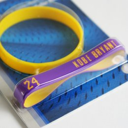 Wholesale Los Angeles Genuine Silicone wristbands Kobe Bryant lap Two packing Basketball Bracelet strap hand fans souvenir gift