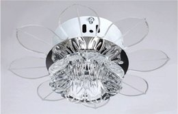 Wholesale New Corridor Stairs Crystal Lotus Ceiling Lights Fan Modern Lotus Ceiling Light Living Room Kitchen Fan Lights Crystal Ceiling Lamp