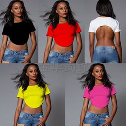 2016 New Fashion Short Designed Crop Top Sexy Back short Sleeve Cropped Tops Ladies Summer T Shirt Plus Size Women Tops