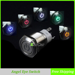 Wholesale 16mm V LED Car Truck Angel Eye Stainless Steel Power Metal Button Switch DIY Moto Flat Head Latching Push Start A VAC