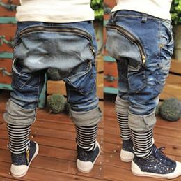 Wholesale 2015 brand children clothes boys jeans back zipper decor kids casual denim harem pants Spring Autumn Fashion Trousers for Y