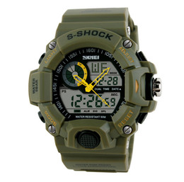 Wholesale Shark Sport Watch Black - Military Mens Watch Skmei Quartz SHARK ARMY 50m Waterproof Surfing Auto Date Full Steel Green Nylon Band Strap Dual Time Outdoor Sport watch