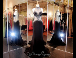 Elegant Black Formal Evening Dress High Neck With Sparking Crystal Beading Chiffon Back Zipper Real picture Formal Prom Gowns