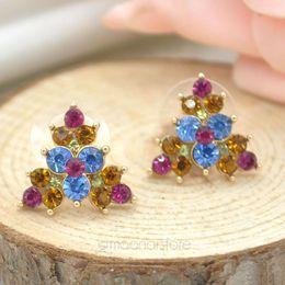 New 2015 Luxury Women Jewelry Earrings Elegant Colorful Triangle Crystal Rhinestone Pearl Stud Earring Ear Studs Y55*SS0016#M5