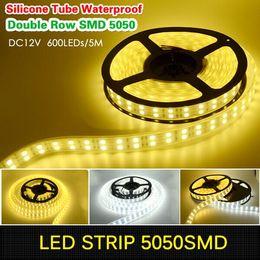Lumière LED IP68 Silicone tube étanche 120LEDs / M double rangée SMD 5050 LED bande 12V blanc / lumière blanche chaude pour la piscine, réservoir de poissons à partir de ip68 conduit bandes lumineuses fabricateur
