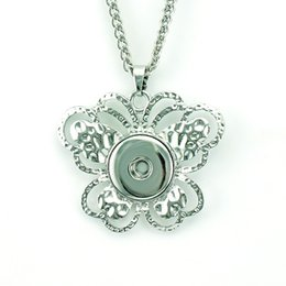 Fashion Pendant Necklaces Silver White 18mm Ginger Snap Buttons Butterfly DIY Interchangeable For Women Statement Necklace Jewelry