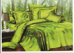 Wholesale Green bamboo ladybug reactive printing bedding bed linens cotton queen with reversible duvet cover flat sheet pillowsham pc comforter set