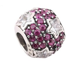 Sterling Silver Charms 925 Ale Rhinestone Star European Charms for Pandora Bracelets DIY Beads Accessries Free Shipping