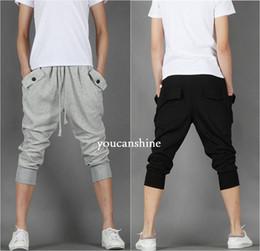 Wholesale- New Men's Fashion Fleece Casual Capri Jogger Sports Baggy Harem Loose Plus Size Cropped Pants Hip Hop Rope Pockets