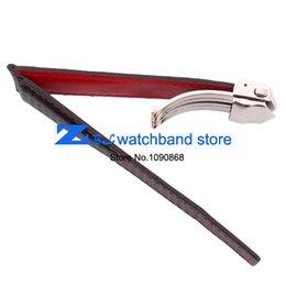 Promotion bracelet en cuir véritable -Carbon Fiber Wholesale fond Watchband est authentique rouge en cuir cousu 20mm 22mm accessoires de montres montre bracelet bracelet bande noire