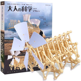 Wholesale Yellow Wind Powered Plastic Robot Toy DIY Walking Walker Strandbeest Assembly Model Building Kits Kids Gift best seller