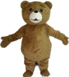 WR210 Free shipping light and easy to wear adult brown plush teddy bear mascot costume for adult to wear