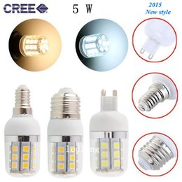Cree5W LED G9 E27 E14 spot bulbs light with cover 360 degree angle warm cool white 27pcs 5050 SMD Led corn lights lamp