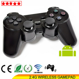 Descuento joystick usb Nuevo PS3 2.4 GHz doble choque inalámbrico Gamepad joystick Game Controller Gamepad PS3 Original consola negro