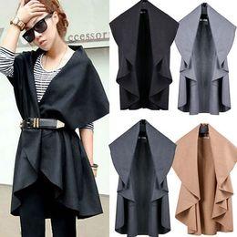 Fashion Women Elegant Frill Loose Cape Shawl Ruffle Poncho Long Vest Casual Cardigan Trench Overcoat Coat roupas femininas