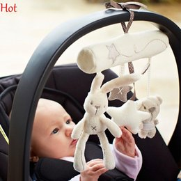 Wholesale 2015 New Hot Sell Mamas Papas Cot Hanging Rattle Toy Baby Soft Plush Bear Rabbit Musical Mobile Products Stroller Car Animal Toys SV008075
