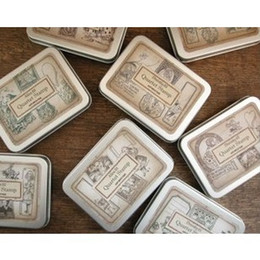 Wholesale 4 set designs DIY Vintage Wooden Stamp Retro Tin Box Alice Dorothy Stamps for Scrapbooking Decoration