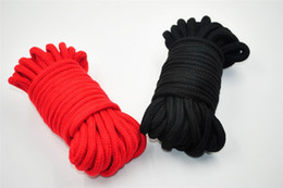 Black & Red 10m long thick cotton fetish sex restraint bondage rope body harness adult flirting game toys for couples women men on sale