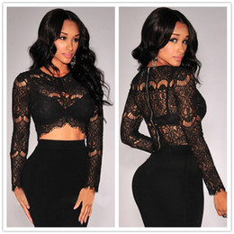 Wholesale Hot selling long sleeve cropped tops for women o neck black and white women t shirt one size sexy lace t shirt