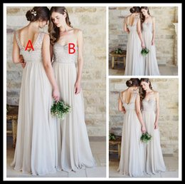 Wholesale Beauty Silver Long Chiffon Bridesmaid Dresses Appique Beading Floor Length Formal Wedding Party Gowns Brautjunfernkleider Online