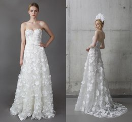 Wholesale 2016 Wedding Gowns Mira Zwillinger Beatrice Sweetheart A Line Backless Lace Flowers With Sash Bridal Gowns Custom Made