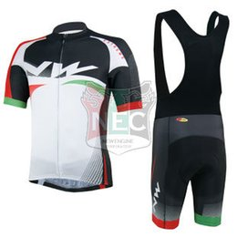 Short Cycling Kit NW NORTH WAVE WHITE Bike Jersey Bib Shorts with Gel pad Short Sleeve Bicycle wear maillot ciclo jersey